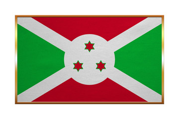 Flag of Burundi golden frame, fabric texture