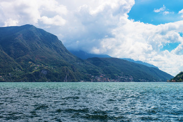 Nature of Lake Lugano and Alps mountains Ticino in Switzerland