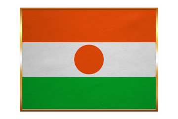 Flag of Niger, golden frame, fabric texture