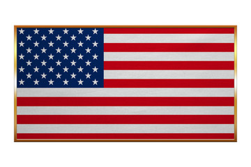 Flag of USA, golden frame, fabric texture