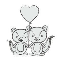 Squirrel cartoon in love icon. Animal cute adorable creature and friendly theme. Isolated design. Vector illustration