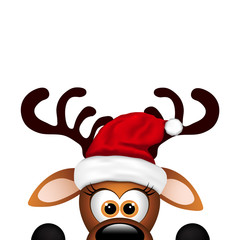 Funny Reindeer on white background. Christmas card