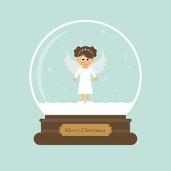 cartoon christmas snowglobe and christmas angel vector