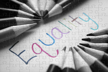 Equality Black & White Puzzle Stock Photo High Quality