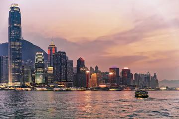 Skyline in the Victoria Harbor in HK