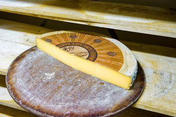 Slice of the Aging Gruyere de Cheese on wooden shelves