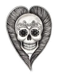 Art skull heart tattoo .Art design skull head mix heart feather tattoo hand pencil drawing on paper.