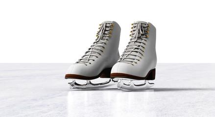 ice skates isolated on ice floor