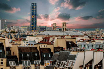 Overview of Paris from Pompidou Center with Montparnasse Tower in the distance. France.