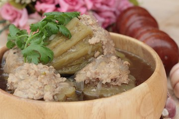 Soup with bitter melon stuffed with minced pork.