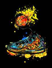 Bright Illustration for basketball. Hand drawing, sketch sneakers. Watercolor effect. Stains, Splashes. Flying fire ball sports. Grunge style. Print T-shirt, poster.