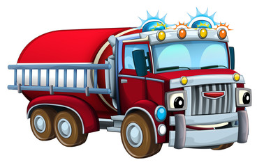 Cartoon firetruck - illustration for children