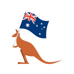 Kangaroos and Australian flag. wallaby for Australia Day emblem