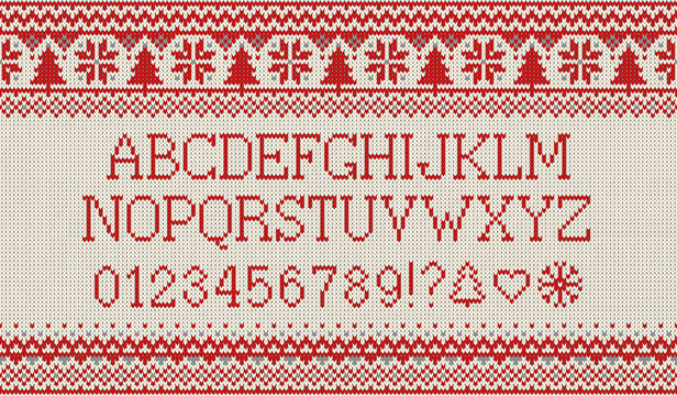 Christmas font. Knitted latin alphabet on seamless knitted pattern with snowflakes and fir. Nordic fair isle knitting, winter holiday sweater design. Vector Illustration.