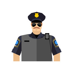 Police officer portrait. Policeman  in uniform. radio and body a