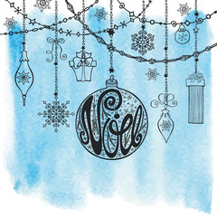 Christmas,Noe card.Lettering ball ,garlands.Watercolor