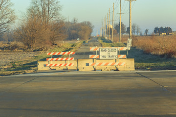 country road closed for construction