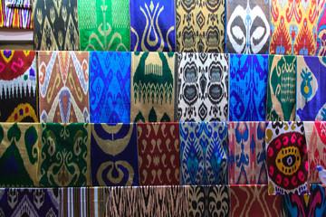 Colorful cloths. Market in Tashkent. Uzbekistan