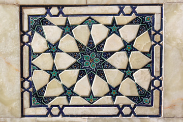 Marble mosaic. Samarkand, Uzbekistan