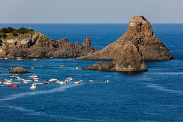 One of the biggest attraction around Aci Castello is the Cyclops archipelago with its odd concentration of huge volcanic rocks in the Aci Trezza bay.