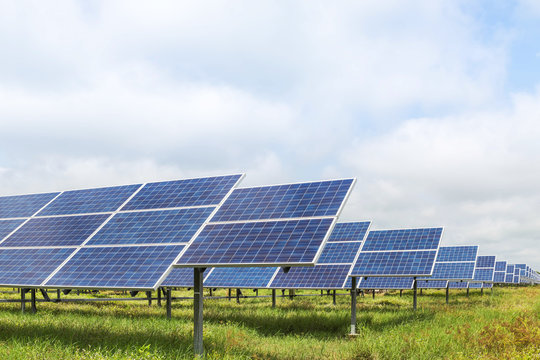 solar panels  photovoltaics in solar farm