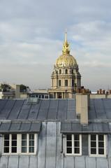 Paris, paris, toit, toits, toiture, cheminee, invalides, dome, dore, doré, or, zinc, france, typique,