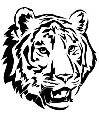 tiger head black and white vector design