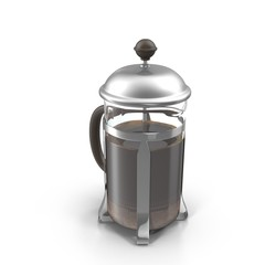 A coffee press on white. 3D illustration