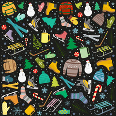 pattern with winter sports accessories, warm woolen clothing, Christmas trees symbols of Entertainment