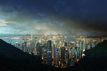 Fotomurales - Hong Kong island from Victoria's Peak at night