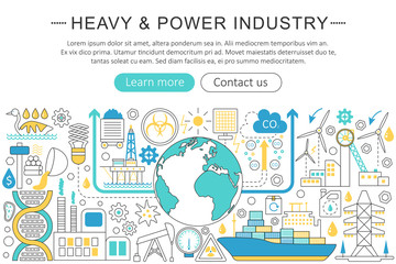 Vector modern line flat design Heavy and power industry concept. Heavy power industry icons Website Header, app design poster banner.