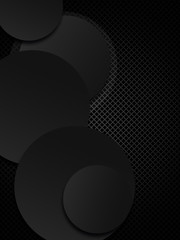 Black grids or pattern background with circles