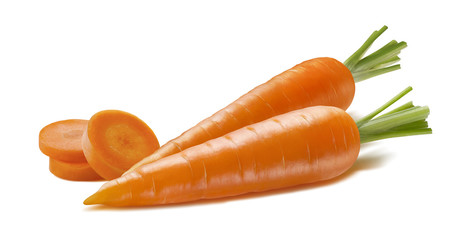 Horizontal double carrot and pieces isolated on white