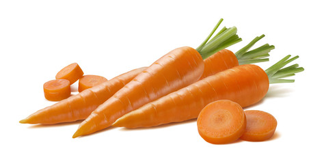 Fresh carrot group with pieces isolated on white background