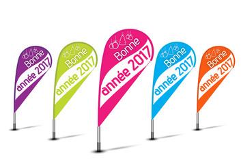 bannières flottantes multicolores : bonne année 2017