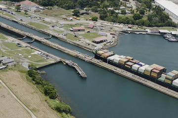 Large cargo ship exiting Gatun Locks, Panama Canal
