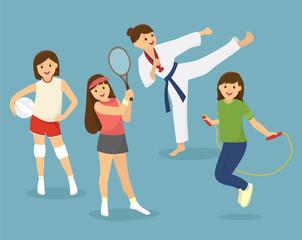 Girls, kids sports
