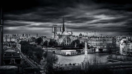 Notre Dame of Paris in B/W ...
