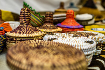 Colorful African Baskets at a Market Festival