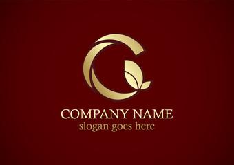 letter g organic leaf gold logo