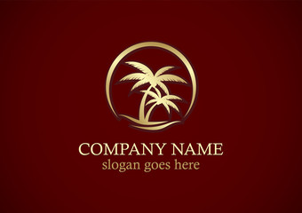 palm tree tropic beach gold logo