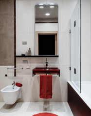 cucina moderna con alzata di piastrelle rosse - Buy this stock photo ...