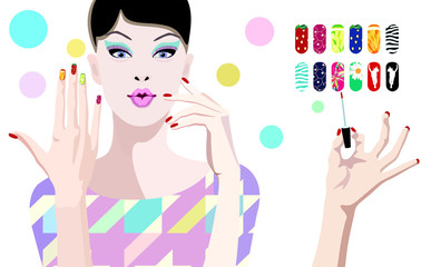 Abstract vector draw cool girl, pink  lips, makeup, false eyelashes