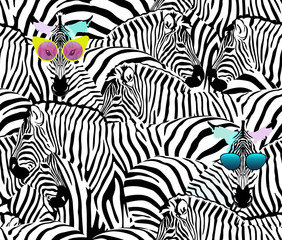 Abstract illustration herd of zebras, animal seamless pattern