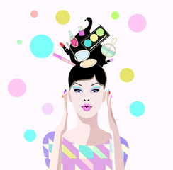 Abstract vector draw of surprised girl in shop with cosmetic, in hair lipstick perfume