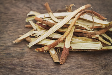 Liquorice root baked used in chinese herbal medicine