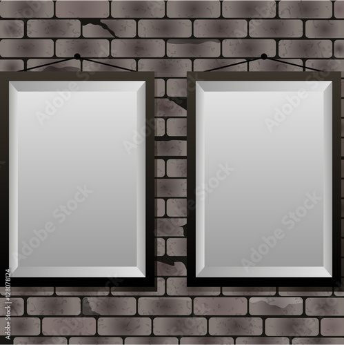 Rectangle frames on brick wall,template with frames on the wall ...