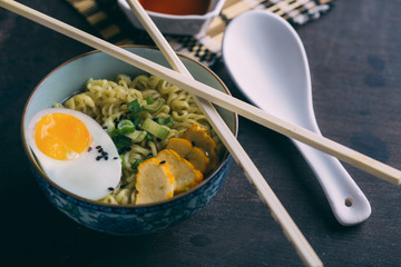 Ramen with noodles, egg and scallion
