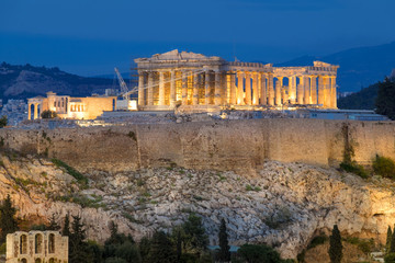 Fototapete - Parthenon and Herodium construction in Acropolis Hill in Athens,