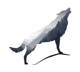 Silhouette of howling wolf with gray mountains landscape.
